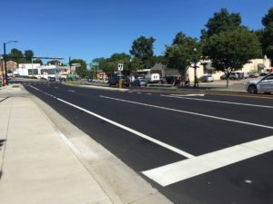 Lee Highway - After: Extended the westbound left turn lane along Lee Highway (Route 29); added an eastbound bike lane along Lee Highway; widened and re-aligned the median; widened the sidewalk along the south side of Lee Highway and improved the bus stop; added streetlights; made the commercial driveway apron ADA-compliant; and replaced the traffic signal equipment. Street trees to be planted in the median and landscaping strip during fall 2018.