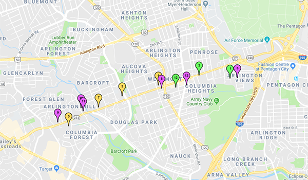 map of columbia pike and form based code project locations