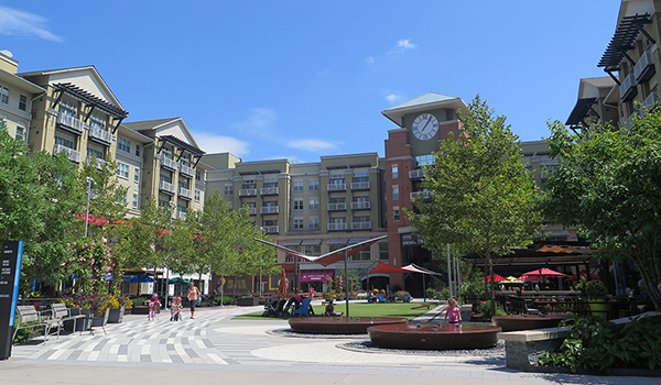 pentagon row in pentagon city, including a public square, retail and residences