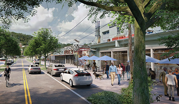 cover of the four mile run valley area plan, including street-level retail and enhanced landscaping