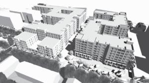 artistic rendering of 600 n glebe harris teeter development project