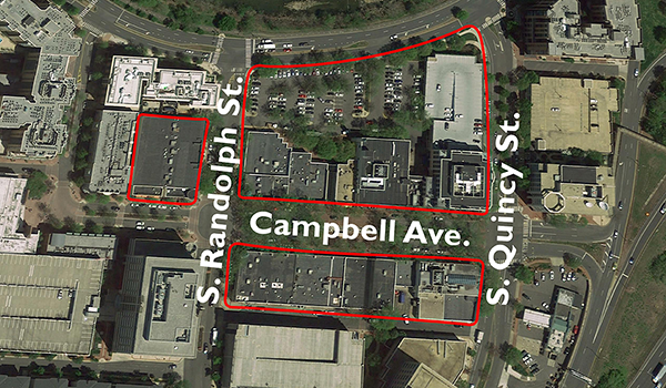 birds eye view of the shirlington village special land use study site, three parcels among campbell avenue, south quincy street and south randolph street