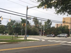 Completed improvements - Looking southwest at George Mason Drive and Four Mile Run Drive