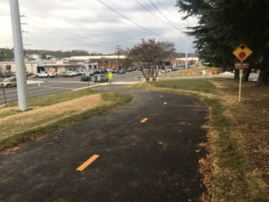 Completed improvements - Looking west on W&OD Trail at S. Oakland Street and Four Mile Run Drive