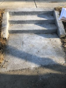 December 2018 construction photo - Installation of steps on southbound Walter Reed Drive