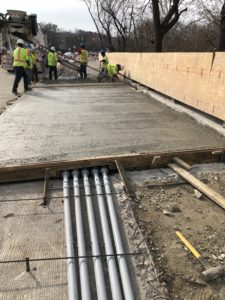 December 2018 construction photo - Installation of bridge sidewalk