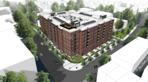 artistic rendering of completed washington boulevard at kirkwood multi family residential building