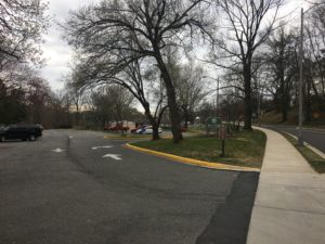 Photo of existing parking lot at Bluemont Park