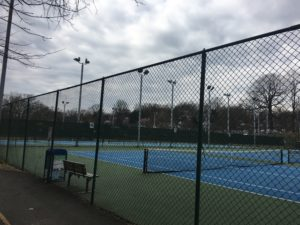 Photo of current tennis court fencing at Bluemont Park