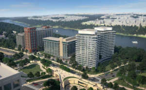 birds' eye view of the key bridge marriott site project
