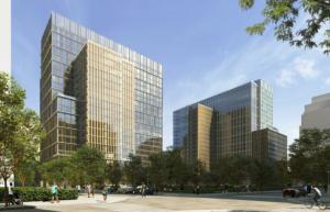 artistic rendering of met park phases 6 through 8, two large buildings in pentagon city