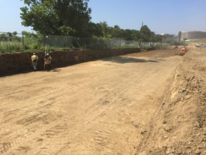 """Excavation for """"Global Stability"""" soil reinforcement of the esplanade."""