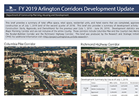 cover of development tracking corridors update, with images of birds eye view of major planning corridors