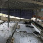 """Leisure pool concrete (shotcrete/gunite) placement completed. """"Wet"""" cure blankets placed over concrete."""