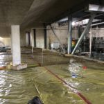 Slab on grade preparation section A under the spectator seating at the 50M pool.