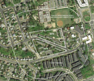 overhead map depicting site of fort henry gardens site plan development