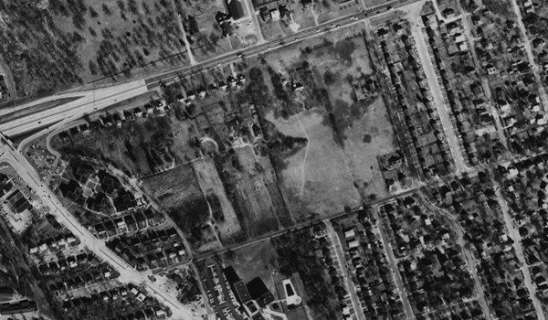 Historical aerial photo of Thomas Jefferson Middle School.