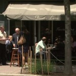 Outdoor seating in front of Faccia Luna