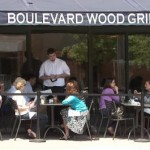 Outside seating at the Boulevard Wood Grill