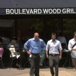 Pedestrians crossing street at Boulevard Wood Grill