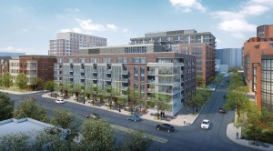 A full-color rendering of the approved Clarendon West development.