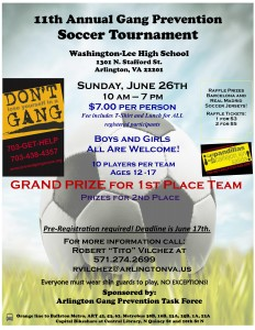Arlington gang prevention soccer tournament flyer in English