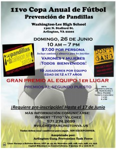 Arlington gang prevention soccer tournament flyer in Spanish
