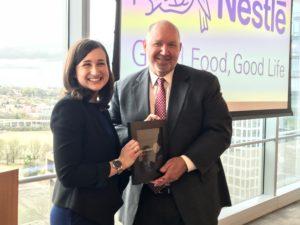 Arlington County Board Chair Katie Cristol with Nestlé USA CEO Steve Presley