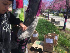 woman decorating tree with yarn