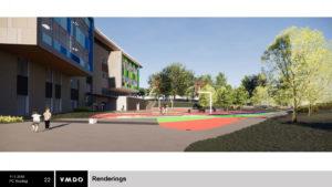 Rendering of aerial view of planned Reed site elementary school.