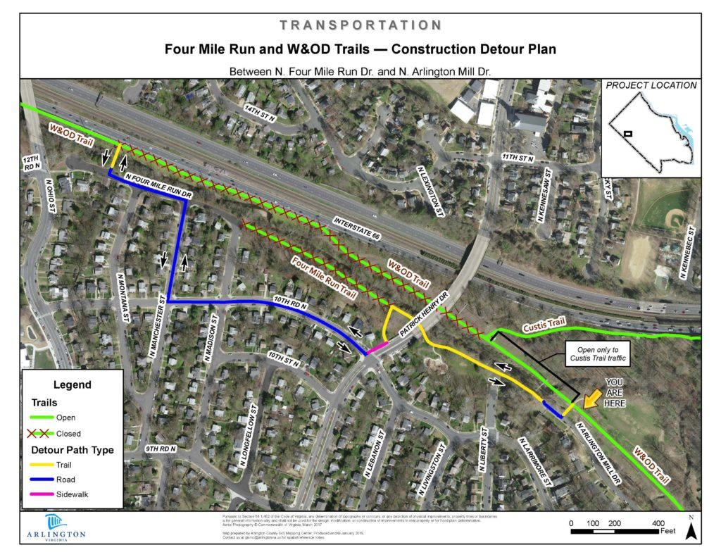 Map showing detailed detour plan of bike paths along road