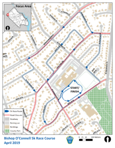 Bishop O'Connell 5k Race Map