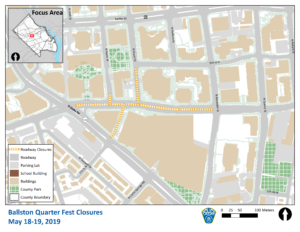 Ballston Quarterfest Road Closure Map