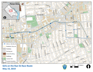 Girls on the Run 5k Road Closure Map