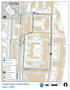 Cycling Classic Crystal City Road Closures Map