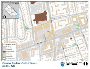 Map of road closures for Columbia Pike Blues Festival
