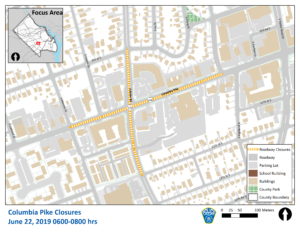 Map of road closures on Columbia Pike and S. Glebe Road on June 22 from 6-8 a.m.
