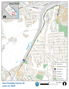 Road Map of Street Closures for Zero Prostate Cancer 5k