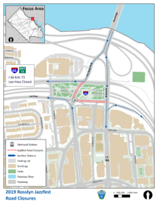 map of road closures for the Rosslyn Jazz Festival