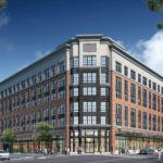 Rendering of approved mixed-use building at Columbia Pike-S. Glebe Rd. intersection.