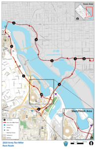 map of road closures for 2019 Army Ten Miler Race