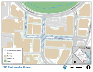 map of road closures for 2019 Shirlington Shucktoberfest
