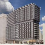 Aerial view rendering of Crystal City apartment tower at 400 11th St. S