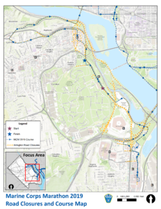 road closures map for 2019 Marine Corps Marathon