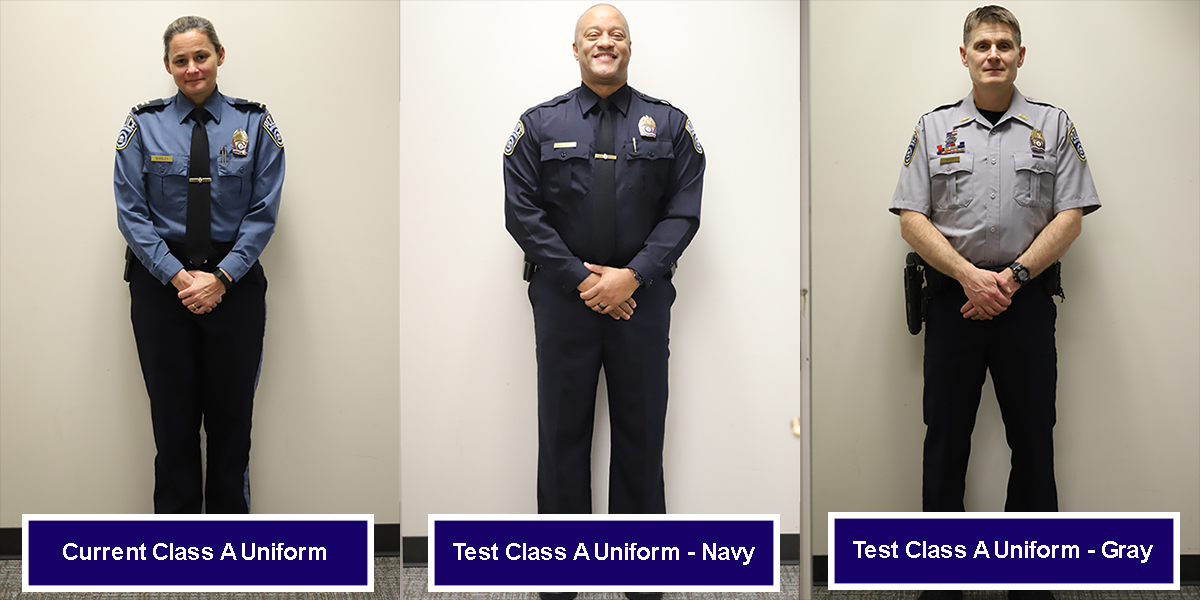 Police Test Uniforms in Navy and Gray
