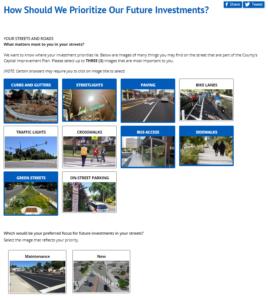 Screenshot of feedback webpage