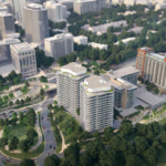 Aerial View of Key Bridge Marriott Hotel Rendering