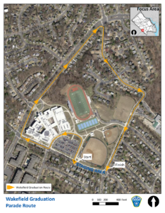 Graduation Parade Route for Wakefield High School