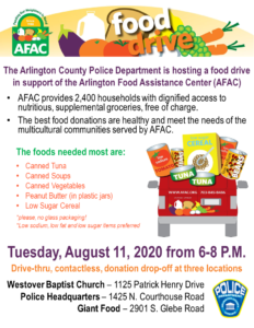 flyer for acpd food drive for afac
