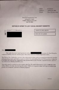 Tax Scam Letter to Levy Social Security Benefits